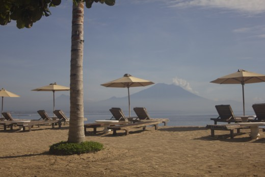 Sanur beach with Mount Agung on the background