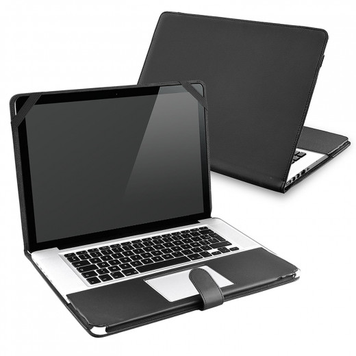 Constructed from synthetic leather, the Hillo Premium is a durable cover that guards the notebook from damage without blocking access to the device's ports and features.  Inner elastic helps to keep the laptop safe and secure when in use, or transit.