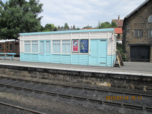 Archetypal North Eastern Railway platform waiting shelter on the up platform (Pickering, erstwhile Malton and York). Few are left. Painted in BR (NE) platform structure sky blue and white