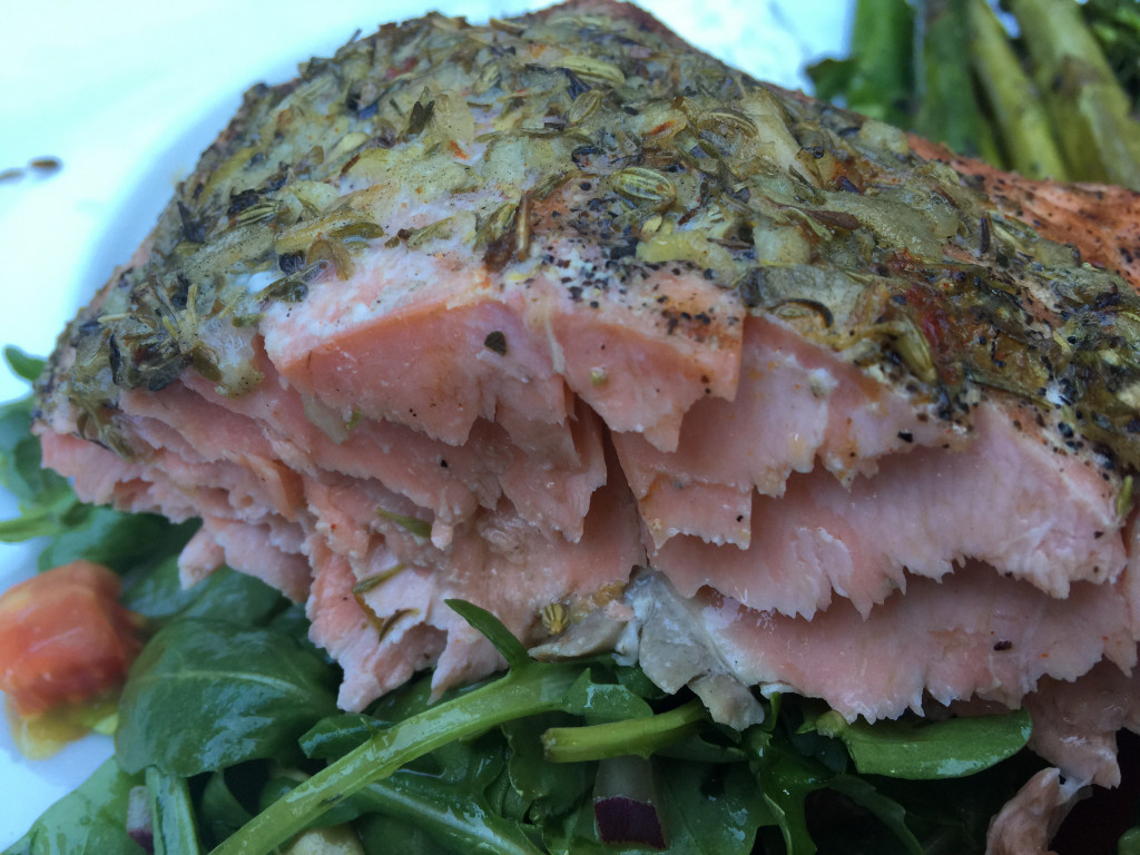 Delicious Grilled Side of Salmon with Butter, Herbs and Lemon on ...
