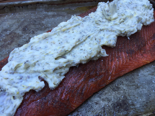 Butter herb baste on salmon fillet
