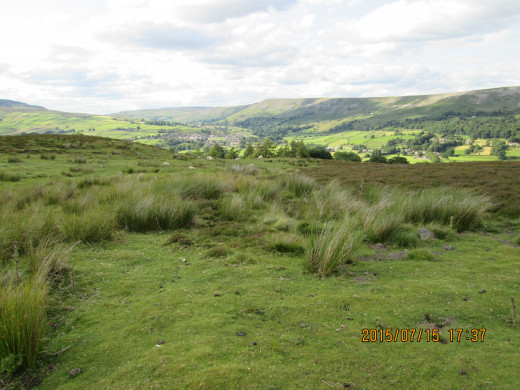Looking over Reeth from the approach into Swaledale