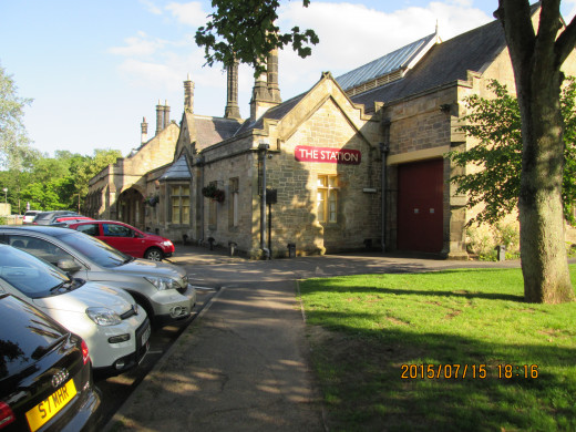 Richmond Station was closed in the mid-1960's and became first a garden centre, then a health and community centre. This is the side that faces the town across the river Swale
