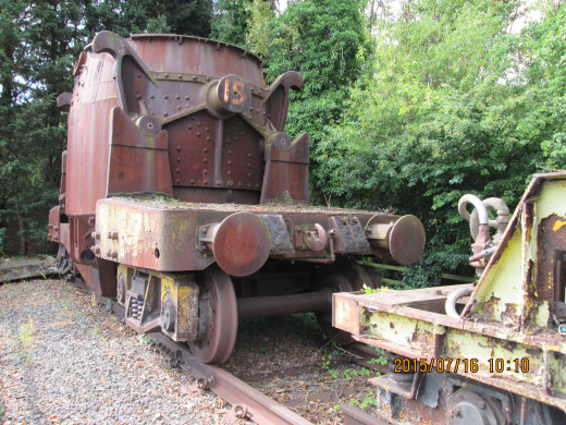 Redundant ladle wagon from the Dorman Long site of the British Steel Corporation. Molten steel would be carried in this and hoisted by an overhead crane for pouring into a forme