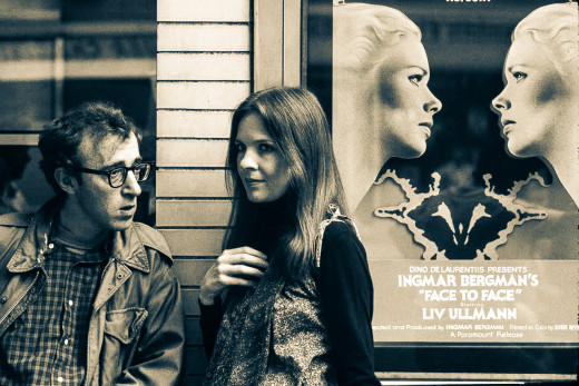 Many of Allen's dramas (starting in the 1980s) draw particularly from the filmography of director Bergman to whom Allen has gone on record as being one of his major cinematic influences. (Still: Annie Hall, 1977)