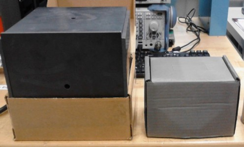 Left - a Nickel-Zinc Ferrite Tile 'box.' Right - A box coated in Nickel aerosol spray paint.