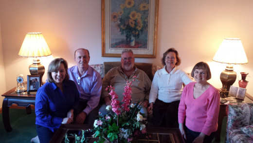 A recent photo of my brother and sisters.  Left to right, Resa, me, Gill,Connie and Sandra.
