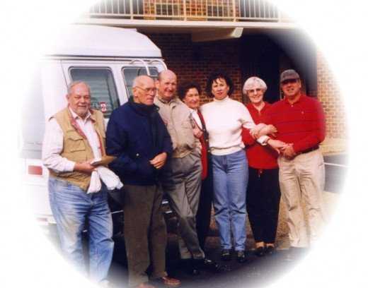 My aunt Nancy is third from the right, and my uncle James, her husband, is on the far right.