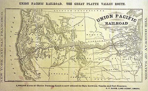 Union Pacific Railroad routes, 1869.