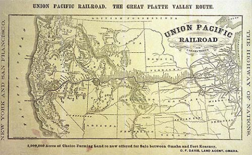 Union Pacific Railroad routes, 1869.