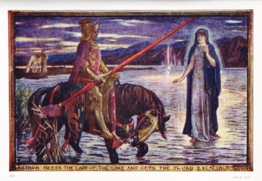 King Arthur is pictured here with the Lady of the Lake, a woman of Avalon.