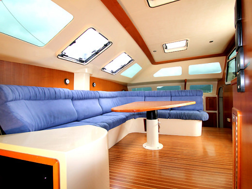 The main cabin area is very comfortable and spacious with seating for 8 adults