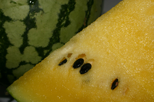 A yellow crimson watermelon.