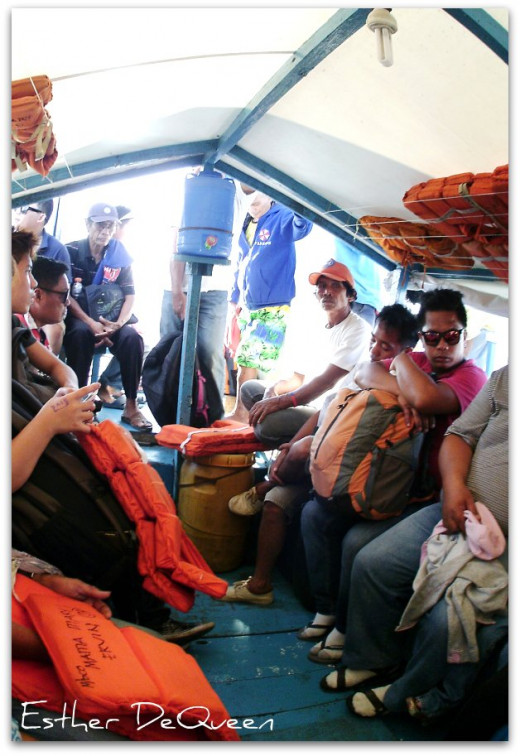 The inside of a banca going to Bato, Leyte from Ubay, Bohol.