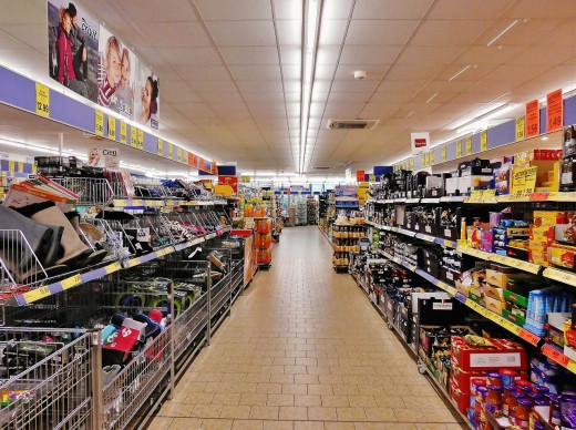 You can find boxes of canned goods or packaged foods at grocery stores.