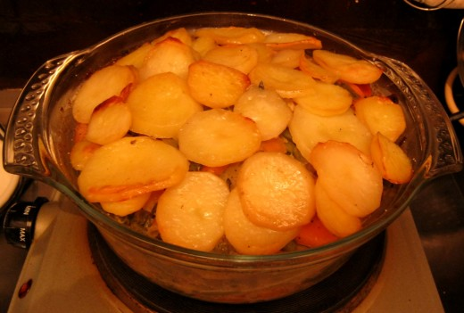 Cook uncovered for a further ten minutes so the potatoes are crisp.