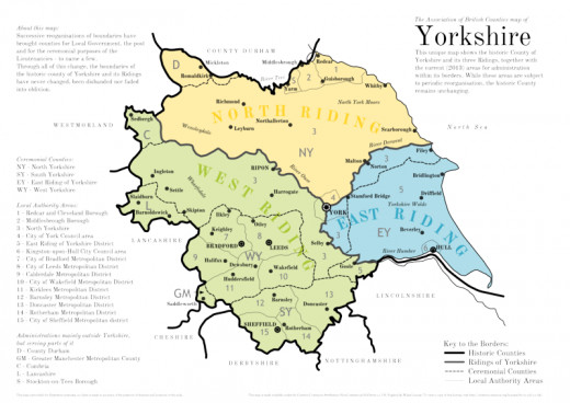 The Ridings, historically 'Thrijungar', the Danish divisions of the land between the Pennines in the west, the Humber in the south-east, the North Sea and the River Tees to the north - with York at the heart (the meeting point of the Ridings)