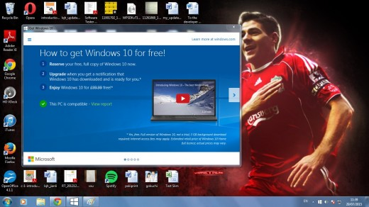 A computer that is amenable for upgrade to the new Windows 10 after passing system check.