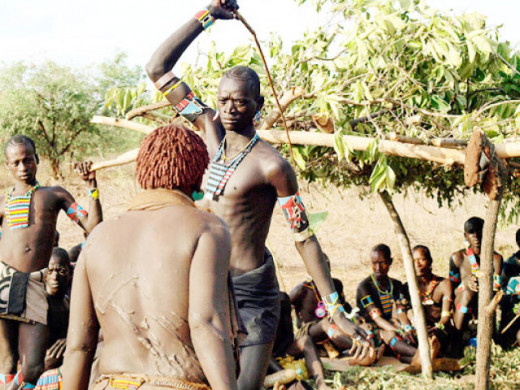 A man being flogged at the Sharo festival
