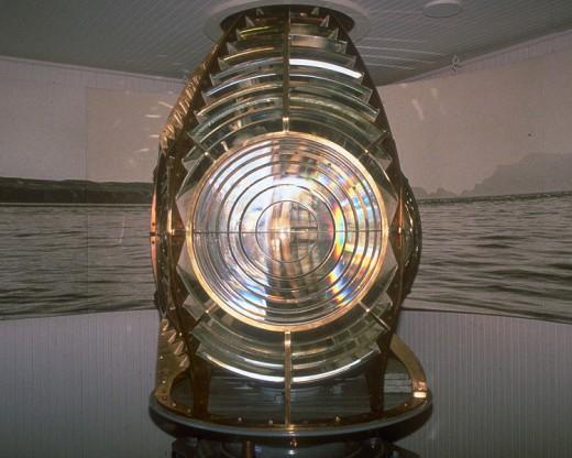 Former fresnel lens of Anacapa Island Lighthouse (California, USA).