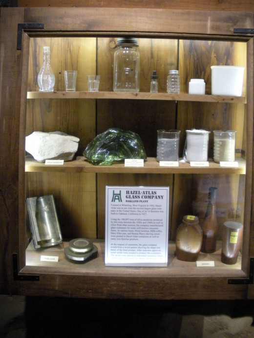 An assortment of the kinds of glass products were made using silica sand from the Hazel-Atlas mine