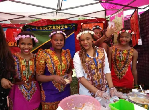 Beautiful Tanzanian girls in their traditional dresses