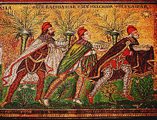 Byzantine art usually depicts the Magi in Persian clothing which includes breeches, capes, and Phrygian caps.