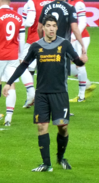 Luis Suarez playing against Arsenal, January 30, 2013.
