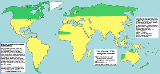 The WORLD, at Temperature higher than 4 degrees centigrade  in the year 2050