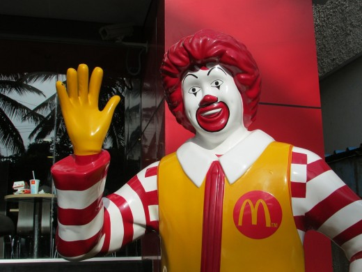This Ronald McDonald statue is used to greet customers.  Welcome to McDonald's!