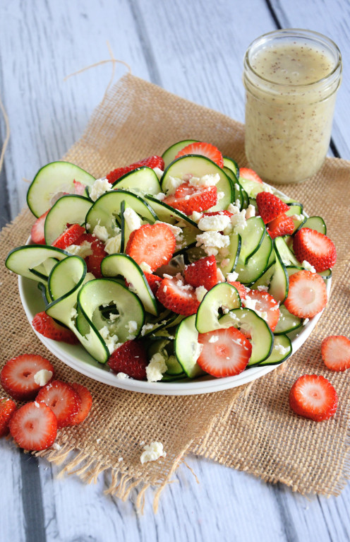 Cucumber and strawberry poppyseed salad.