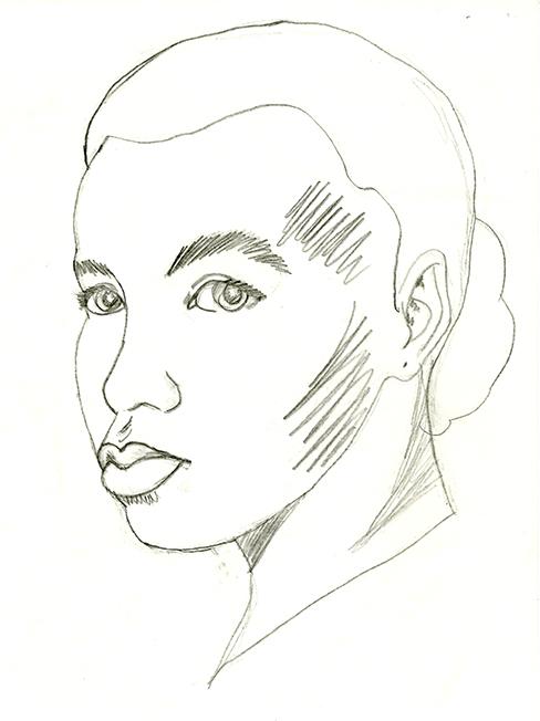 My daughter's self portrait, age 13.