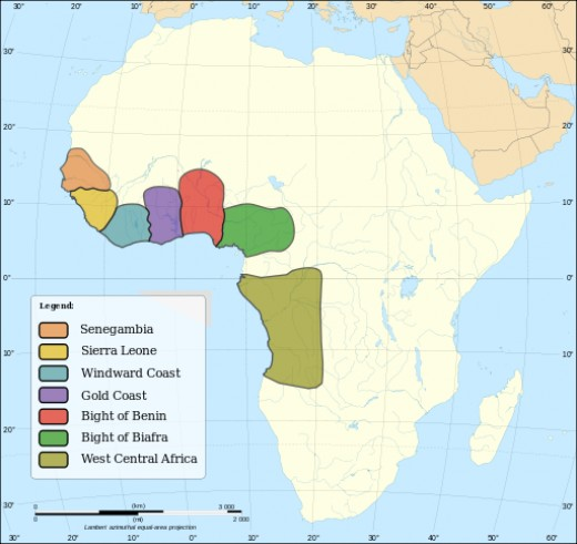 Slave trading regions in Africa