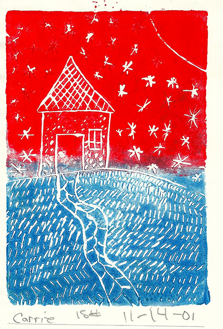 Printmaking, student age 11.