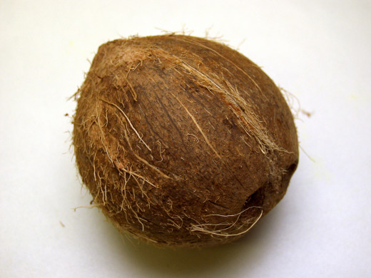 Coconut milk is made from the grated meat of a brown coconut.