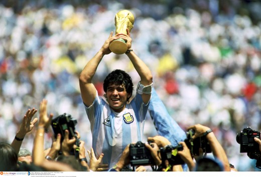 Diego Armando Maradona lifts the World Cup in 1986
