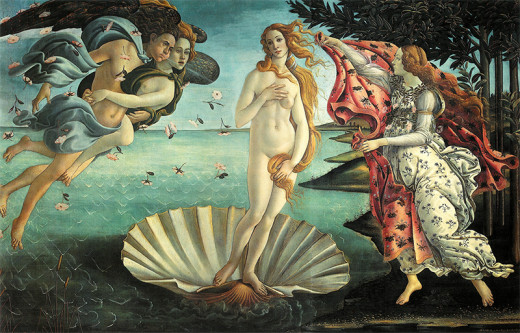 Birth of Venus by Sandro Botticelli. The Roman goddess of love beauty, sex, fertility, prosperity and desire.