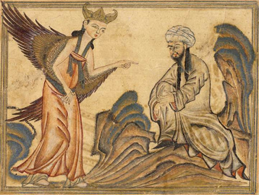 Muhammad receiving his first revelation from the angel Gabrie
