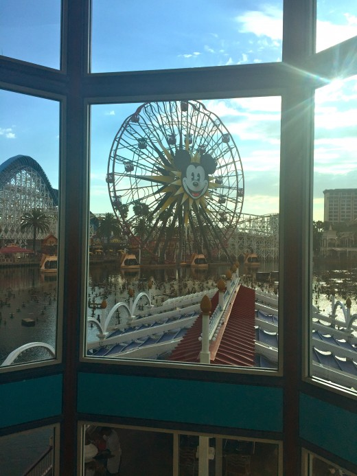 View of Paradise Pier from the staircase inside of Ariel's Grotto.