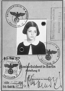 KINDERTRANSPORT, 1938–1940 - Passport issued to Gertrud Gerda Levy, who left Germany in August 1939 on a Children's Transport (Kindertransport) to Great Britain. Berlin, Germany, August 23, 1939.