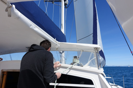 Trimming the headsail after a tack