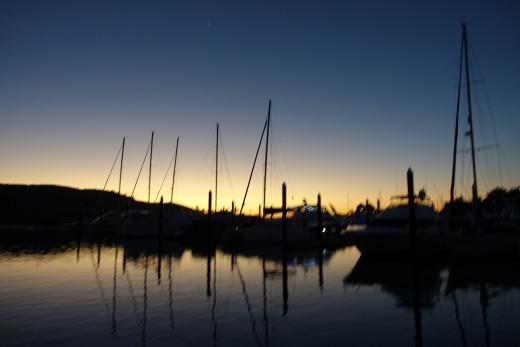 Sunset in the marina at Hamilton Island
