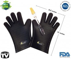 Bee Sili Silicone BBQ Grill Gloves / Pot Holder Oven Mitts with Silicon Basting Brush - M-L Fits Most Hands - Black