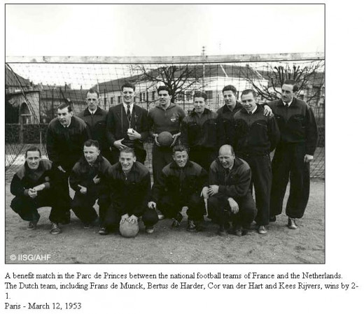Dutch players posed ahead of a benefit match against France on Mar. 12, 1953. The Netherlands' 2-1 victory against France sparked the road to professionalism for the Netherlands.