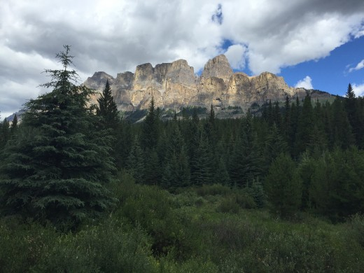 View of Castle Mountain from a viewpoint on Bow Valley Parkway