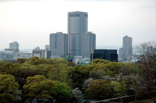 View of Kyobashi from Osaka Castle Japan