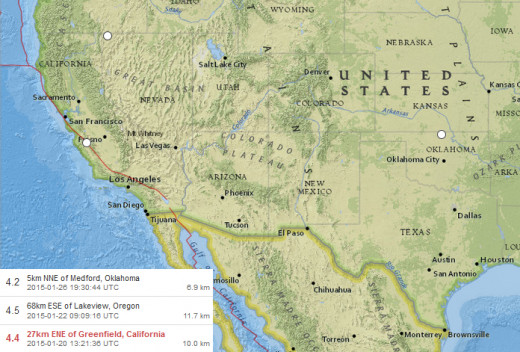 4.2-4.5 magnitude quakes in the continental USA during 20 January thru 26 January 2015.