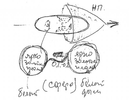 Kovalyonok's sketch shows that the object exploded into two, interconnected parts, somewhat similar to a dumbell in shape.