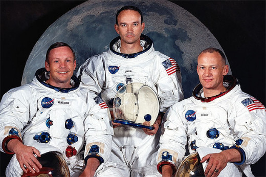 "History makers: the Apollo 11 team and first to the lunar surface,  Neil Armstrong (left), Michael Collins (centre) and Edwin ""Buzz"" Aldrin (right)."