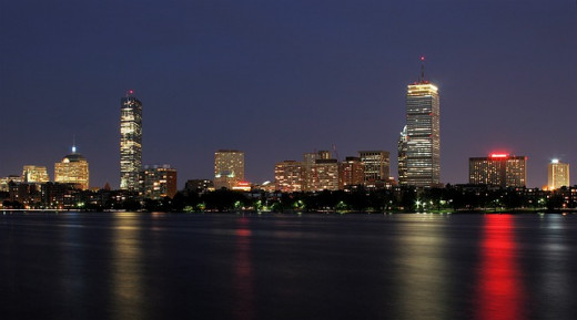 Boston nighttime skyline